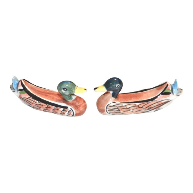 Porcelain Duck Knife Rests - A Pair For Sale
