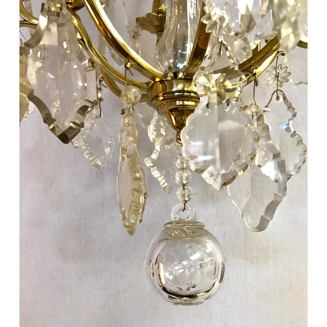 1930s French Bronze & Rock Crystal Chandelier For Sale - Image 5 of 7