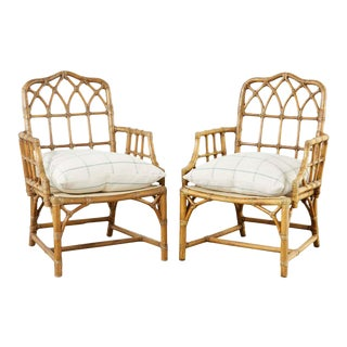 Pair of McGuire Organic Modern Bamboo Rattan Armchairs For Sale