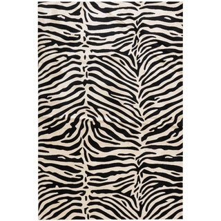Black & White Stylish Bohemian Animal Print Rug - 6' x 9'