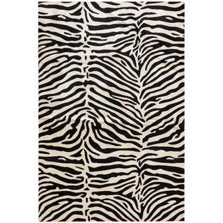 Black & White Stylish Bohemian Animal Print Rug - 6' x 9' For Sale