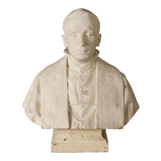 1930s Vintage Plaster Bust of Pope Benedict XV For Sale