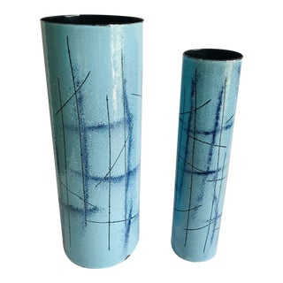 1960s Vallenti Mid Century Modern Etched Enamel on Copper Vases - a Pair For Sale