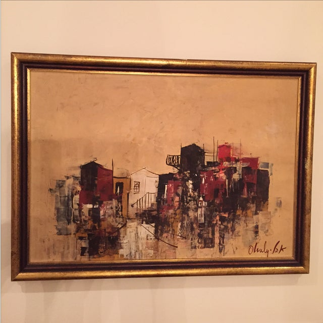 Mid-Century City-Scape Painting - Image 2 of 3