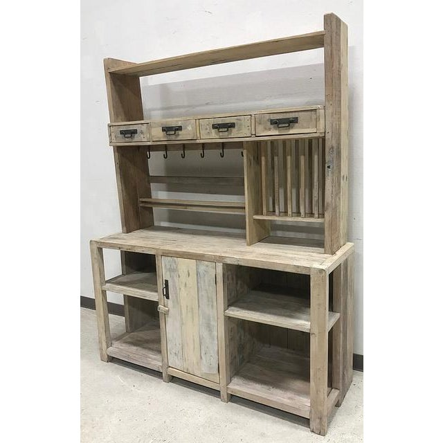 White Washed Barn Wood Style Hutch Cabinet - Image 2 of 3