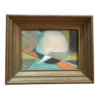 Vintage Mid Century Abstract Geometric Hard Edge Oil Painting For Sale