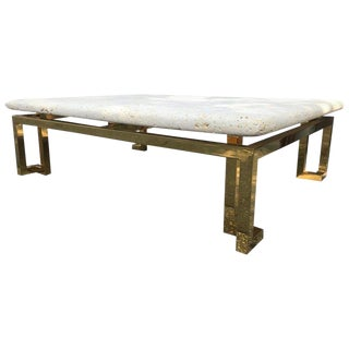 Guy Lefevre for Maison Jansen Stone and Brass Coffee Table