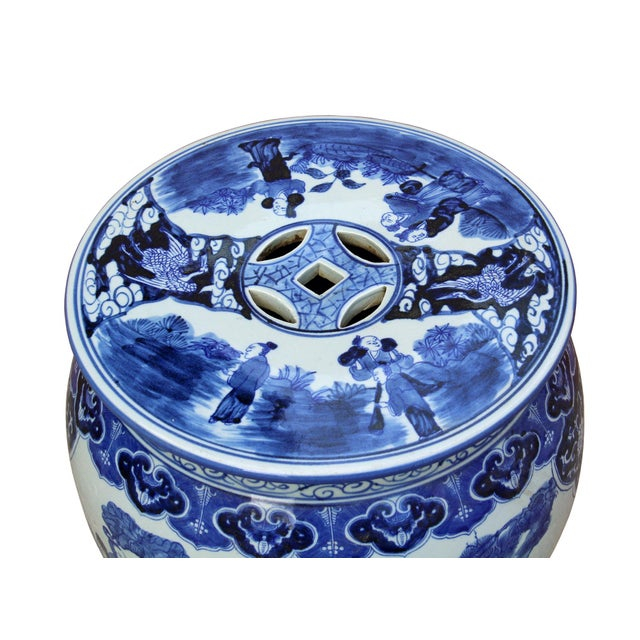 Chinese Blue & White Porcelain Eight Immortal Scenery Round Stool Table For Sale - Image 4 of 6