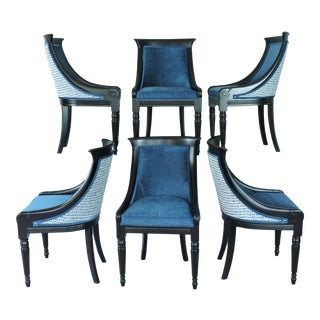 Vintage French Empire Upholstered Dining Chairs - Set of 6 For Sale