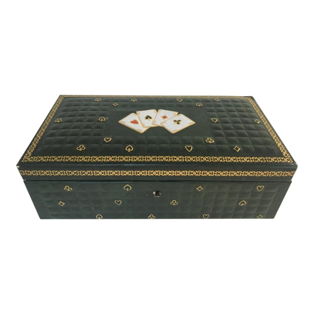 1950s Vintage Italian Quilted Green Card / Game Box For Sale