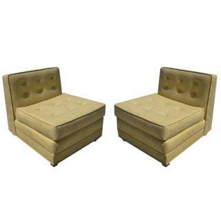 Mid-Century Modern Tufted Slipper Chairs, Pair For Sale