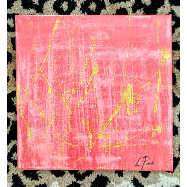 Original Abstract Watermelon Pink and Lime Green Splatter Painting For Sale In Charlotte - Image 6 of 6