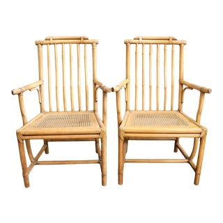 Bamboo Wooden Armchairs, Pair For Sale