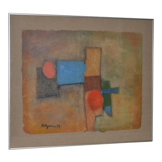 Vintage Abstract Mixed Media With Oil Painting on Hand Made Paper C.1979 For Sale
