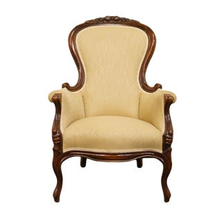 1940's Victorian Mahogany Parlor Accent Arm Chair For Sale