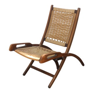 1960s Hans Wegner Style Folding Rope Chair For Sale