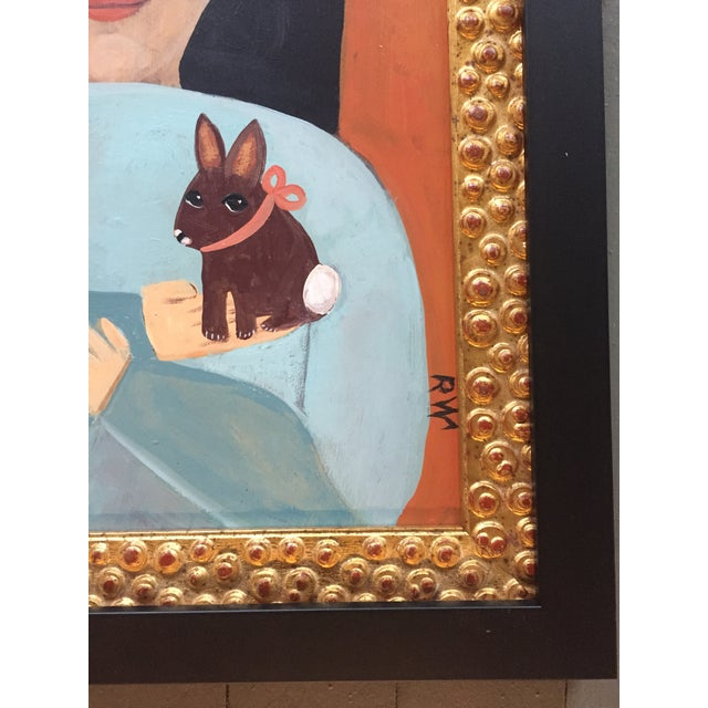 "Contemporary Folk Artist Rose Walton "" The Rabbit"" Oil Painting - Image 3 of 5"