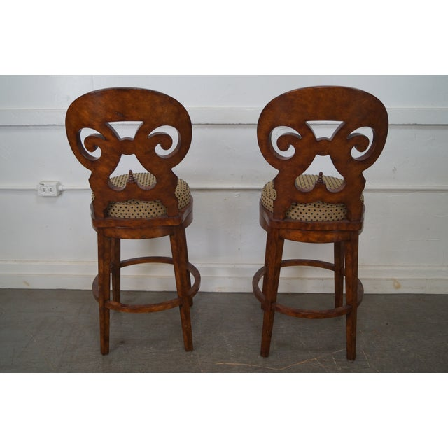 Biedermeier Style Swivel Bar Stools - A Pair - Image 4 of 10