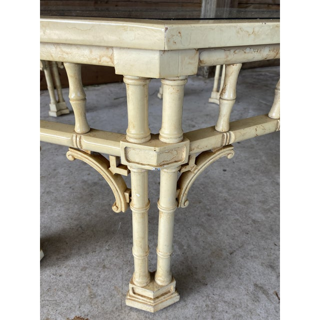 Amazing vintage faux bamboo coffee table with intricate fretwork detail ready to be lacquered. Please zoom in on all...