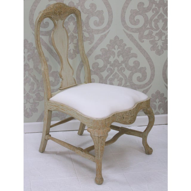 Swedish Rococo hand carved dining side chair. This is the side dining chair SC007-S that goes with the SC007 arm chairs....