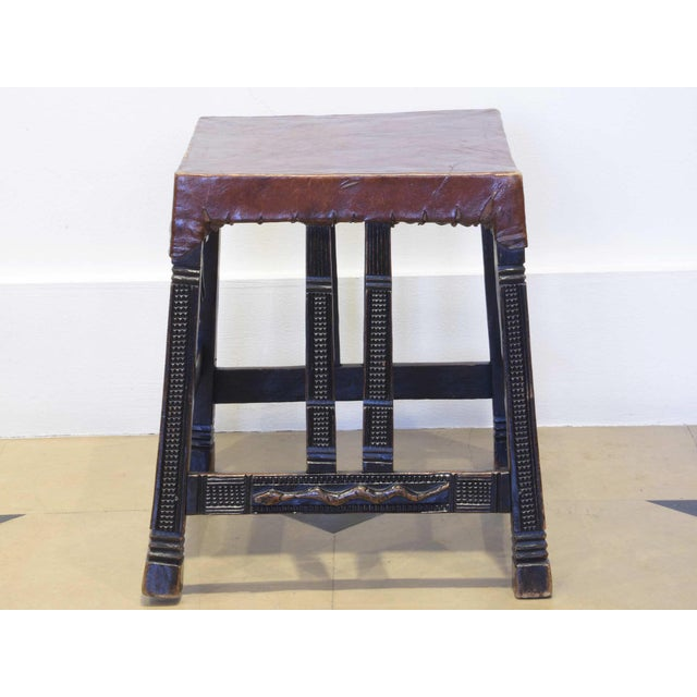 """Animal Skin Set of 4 """"Chokwe"""" African Stools, in Sculpted Wood and Parchment For Sale - Image 7 of 12"""