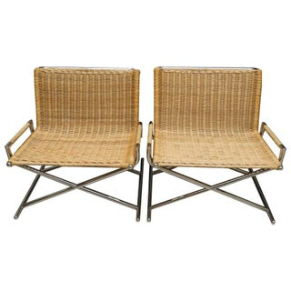 Sled Chairs in Polished Chrome and Woven Rattan by Ward Bennett - a Pair For Sale