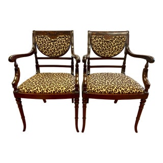 Federal Style Mahogany Armchairs With Leopard Fabric, Pair For Sale