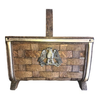 Vintage Woven Split Wood Magazine Basket With a Federal Eagle For Sale
