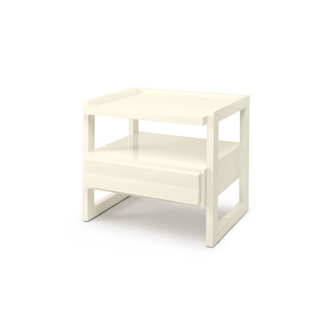 Contemporary Hudson Nightstand in Bright White - Rita Konig for The Lacquer Company For Sale - Image 3 of 3