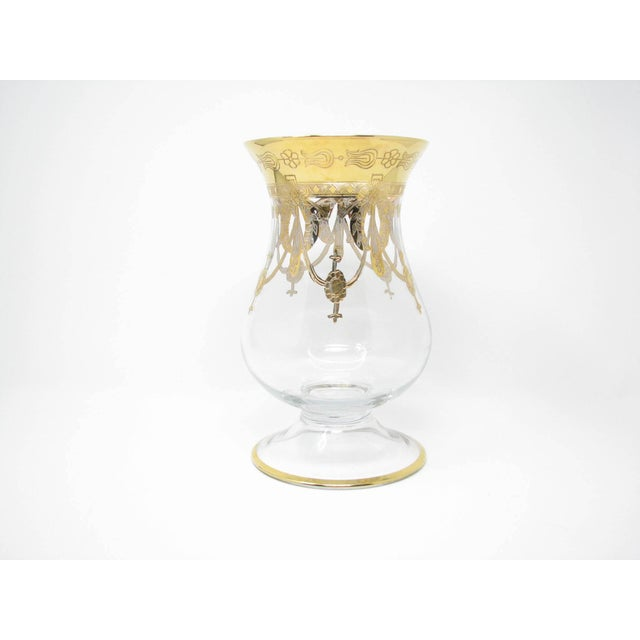 Vintage Same Cristallerie (SC Line) glass and 24K gold encrusted large footed vase with exceptional hand-decorated Regency...