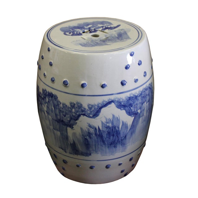 Chinese Blue & White Porcelain Scenery Round Stool Table - Image 4 of 7