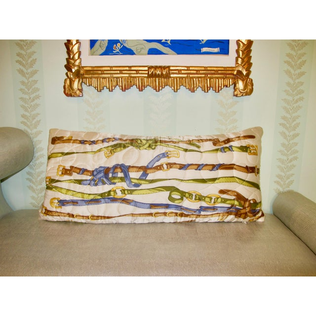 Vintage Quilted Hermes-Style Silk Scarf Pillow Envelope For Sale - Image 6 of 6