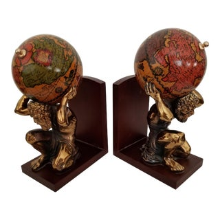 Italian Bookends Kneeling Atlas W/Globe - A Pair For Sale