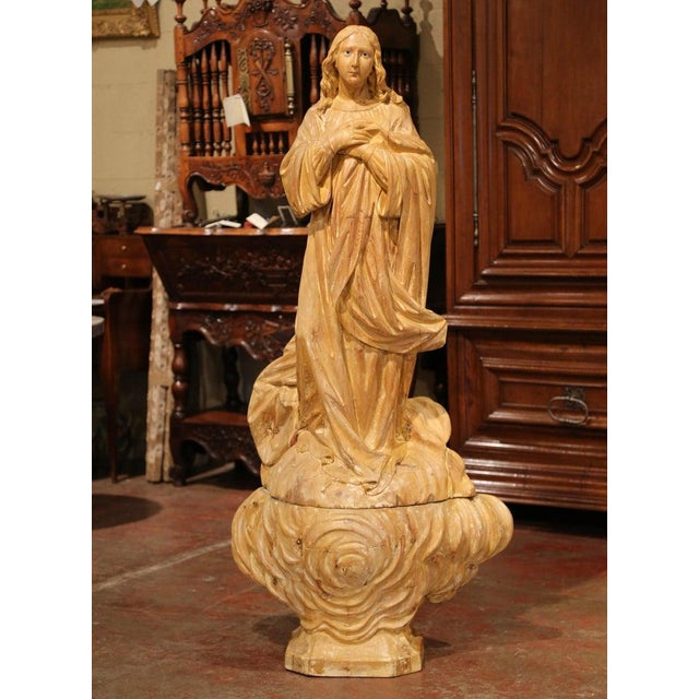 Tan Early 19th Century French Carved Pine Religious Figure on Carved Cloud Form Base For Sale - Image 8 of 13