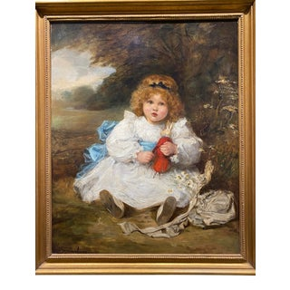 """Victorian """"Beautiful Child With a Doll"""" Painting by Marie Ellen Seymour Lucas, 1898 For Sale"""