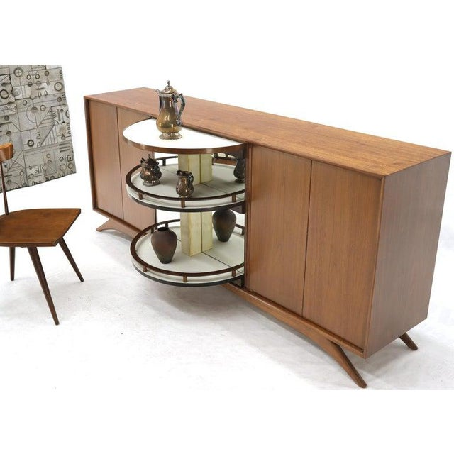Swivel Centre Bar Walnut Mid-Century Modern Credenza Sideboard Sculptural Legs For Sale - Image 6 of 13