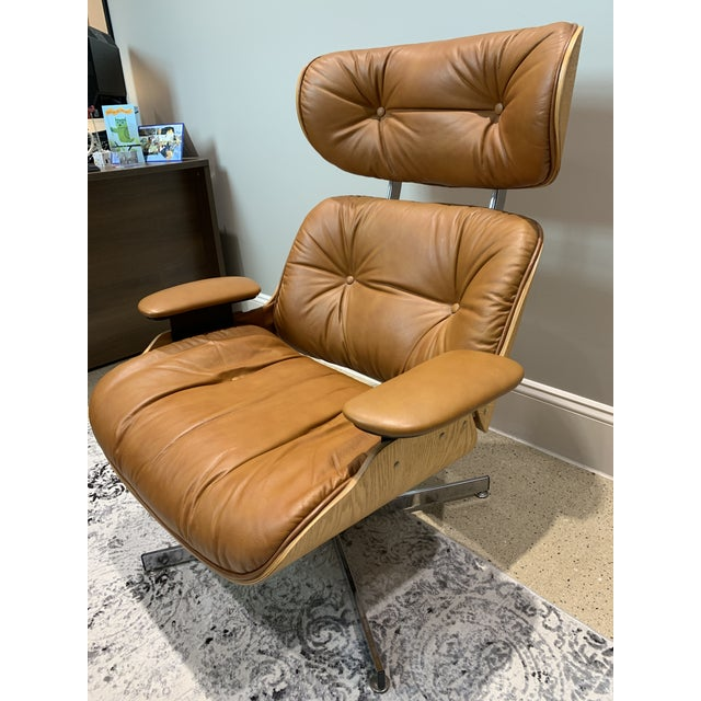 Vintage Mid Century Selig Manufacturing Company Chair & Ottoman For Sale - Image 6 of 13