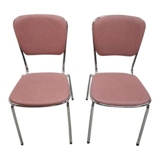 Pair of Mid Century Modern Chrome Mauve Pink Vintage Kitchen Side Chairs For Sale