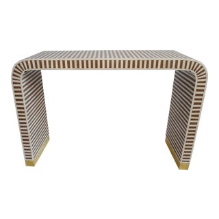 Inlay Striped Waterfall Console Table Brown For Sale