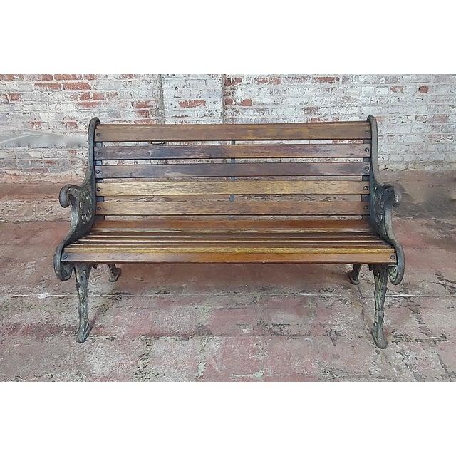 19th Century Fabulous Cast Iron & Wood Patio / Garden 3 Pieces Set For Sale - Image 4 of 11