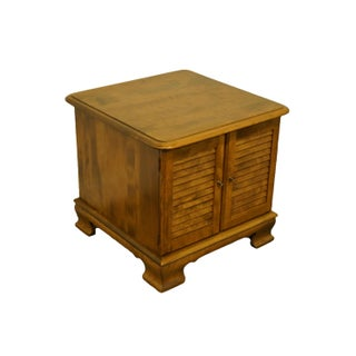 Ethan Allen Heirloom Nutmeg Maple Square Shutter Door Cabinet Accent End Table Preview