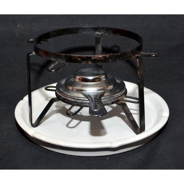 Mid-Century Modern Floral Design Stoneware Chafing Dish For Sale - Image 3 of 4