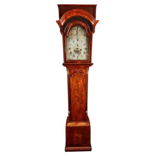 18th Century Mahogany English Flat Top Grandfather Clock by John Skinnier With a Silver on Brass Dial For Sale