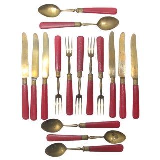 Antique French Red Celluloid / Brass Flatware, Set of 16 For Sale
