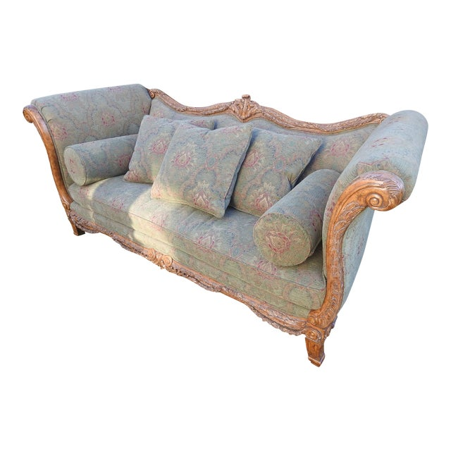 Walter E. Smithe Carved Wood Sofa For Sale