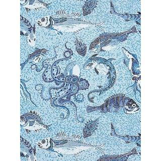Scalamandre Mikonos Wallpaper, Blue