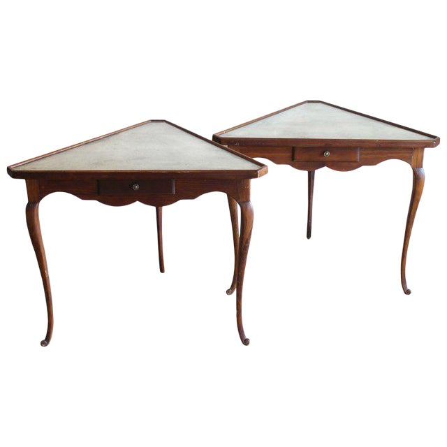 Pair of Mirror Topped Triangular Tables For Sale