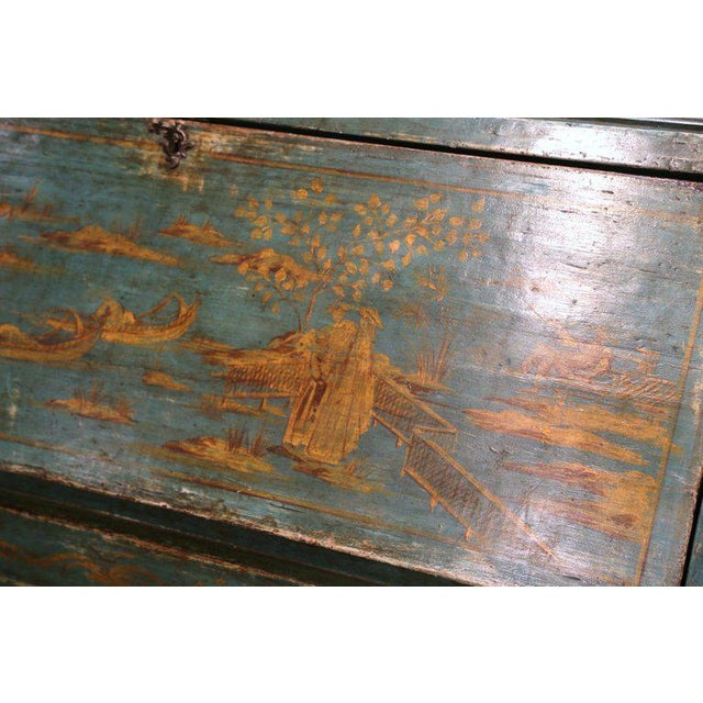 18th Century Italian Hand Painted Secretary Bookcase With Chinoiserie Decor For Sale - Image 10 of 12