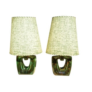 1960s American Mid-Century Modern Green Ceramic Lamps - a Pair For Sale