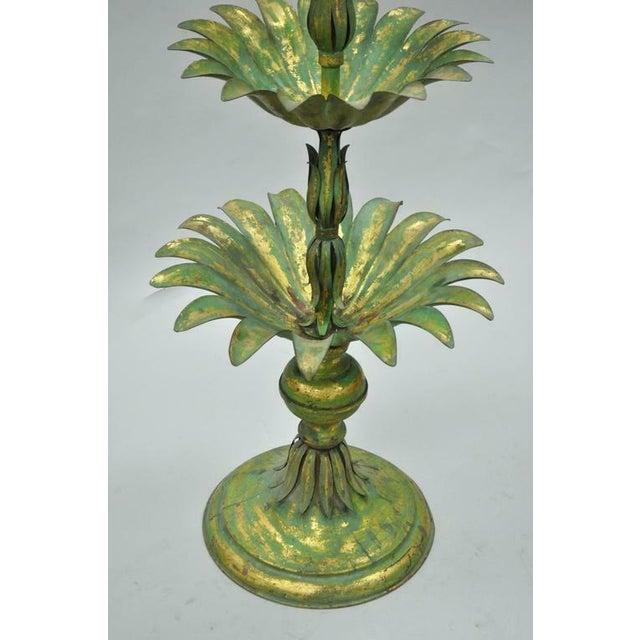 Vintage Mid-Century Italian Hollywood Regency Style Gold Tole Metal Palm Leaf Statue For Sale - Image 4 of 11